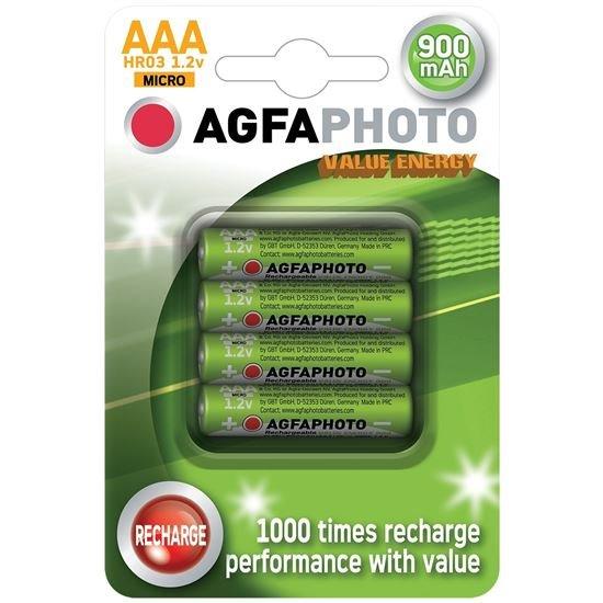 AgfaPhoto nabíjacie NiMH batérie 1.2V, AAA, 900mAh, blister 4ks