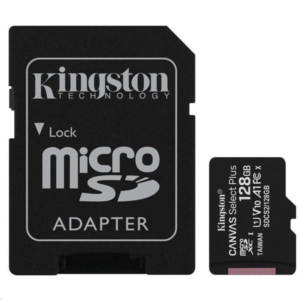 128 GB . microSDXC karta Kingston Canvas Select Plus Class 10 (r/w 100MB/s) + adaptér