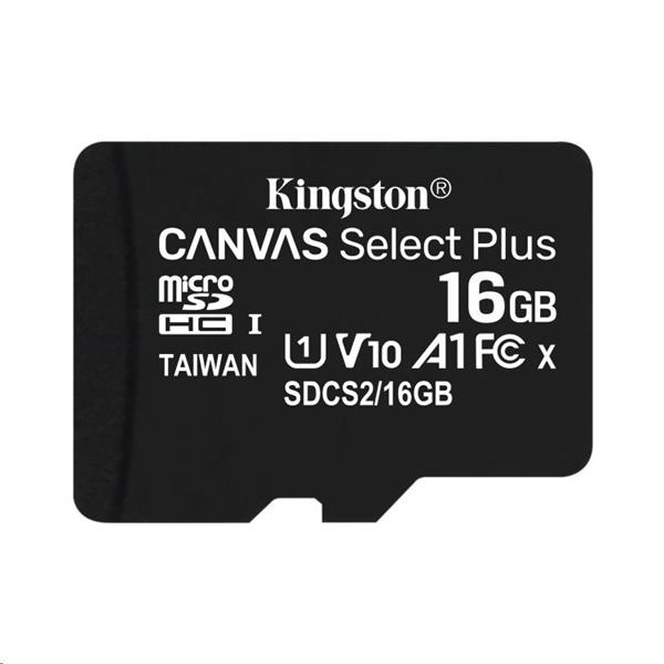 16 GB . microSDHC karta Kingston Canvas Select Plus Class 10 (r/w 100MB/s) bez adaptéra