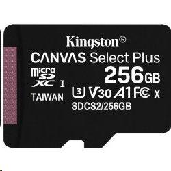 256 GB . microSDXC karta Kingston Canvas Select Plus Class 10 (r/w 100MB/s / 85MB/s) bez adaptéra