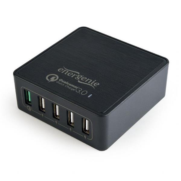 Gembird nabíjačka, 5 x USB, technológia rýchleho nabíjania Qualcomm QC 3.0, čierna