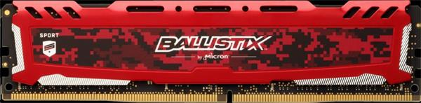 16GB DDR4 3000 MT/s (PC4-24000) CL15 SR x8 Crucial Ballistix Sport UDIMM 288pin, red