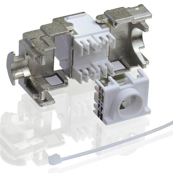 OEM Keystone Cat6a, STP, 180 stupnov, priame pripojenie, toolless, RJ-45, strieborný