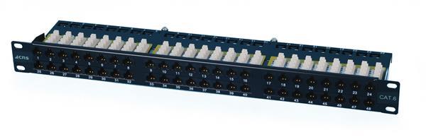 OEM patch panel 48port Cat6, UTP, blok 110, vyväz. lišta, 1U,čierny