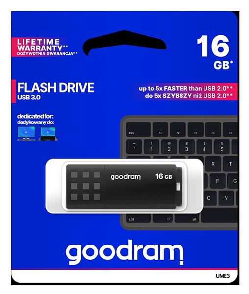 16 GB . USB 3.0 kľúč . GOODDRIVE EME3 čierny