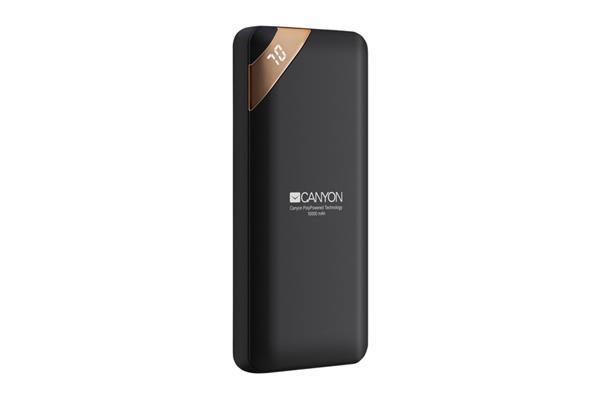 Canyon CNE-CPBP10B Powerbank, polymérová, 10.000 mAh, 2 x USB výstup, micro USB/USB-C vstup, displej, Smart IC, čierna