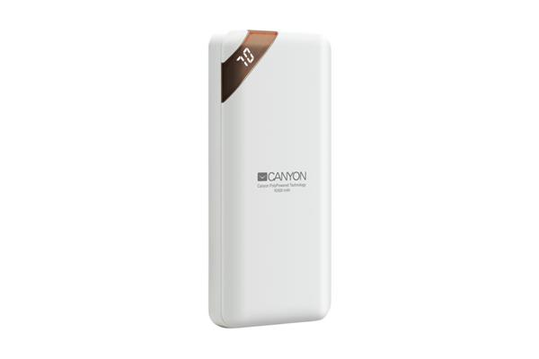 Canyon CNE-CPBP10W Powerbank, polymérová, 10.000 mAh, 2 x USB výstup, micro USB/USB-C vstup, displej, Smart IC, biela