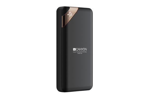 Canyon CNE-CPBP20B Powerbank, polymérová, 20.000 mAh, 2 x USB výstup, micro USB/USB-C vstup, displej, Smart IC, čierna