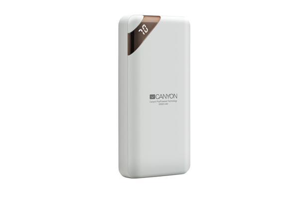 Canyon CNE-CPBP20W Powerbank, polymérová, 20.000 mAh, 2 x USB výstup, micro USB/USB-C vstup, displej, Smart IC, biela