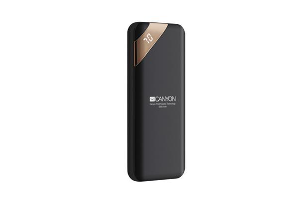 Canyon CNE-CPBP5B Powerbank, polymérová, 5.000 mAh, 1 x USB výstup, micro USB/USB-C vstup, displej, Smart IC, čierna