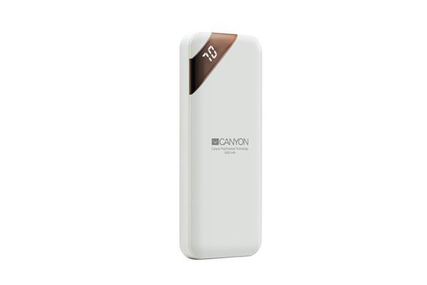 Canyon CNE-CPBP5W Powerbank, polymérová, 5.000 mAh, 1 x USB výstup, micro USB/USB-C vstup, displej, Smart IC, biela