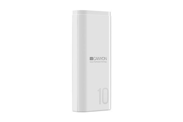 Canyon CNE-CPB010W Powerbank, polymérová, 10.000 mAh, 1 x USB výstup, micro USB/USB-C vstup, Smart IC, kompaktná, biela