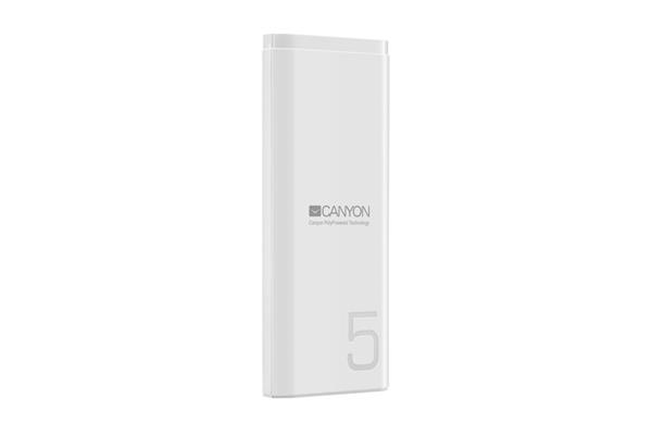 Canyon CNE-CPB05W Powerbank, polymérová, 5.000 mAh, 1 x USB výstup, micro USB/USB-C vstup, Smart IC, kompaktná, biela