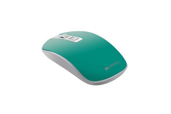 Canyon CNS-CMSW18A, Wireless optická myš USB, 800/1200/1600 dpi, 4 tiché tlač, zeleno - biela
