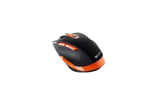 Canyon CNS-CMSW14BO, Wireless optická myš USB, herný senzor, 800/1200/1600/2000/2400 dpi, oranžovo-čierna