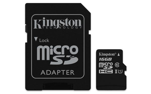 16 GB . microSDHC karta Kingston Canvas Select Class 10 UHS-I (r80MB/s, w10MB/s) + adaptér