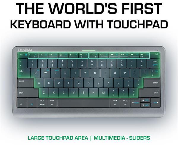Prestigio Click&Touch, bezdrotova klavesnica s touchpad-om