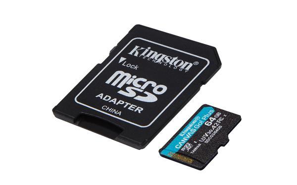 64 GB . microSDXC karta Kingston Canvas Go Plus + adaptér