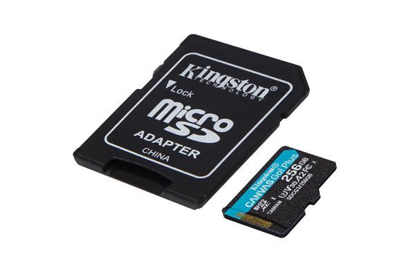 256 GB . micro SDXC karta Kingston Canvas Go Plus + adaptér