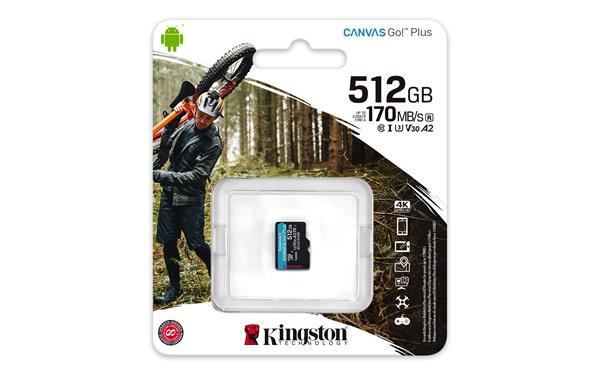 512 GB . microSDXC karta Kingston Canvas Go Plus, bez adaptéra