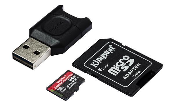 64 GB . microSDXC karta Kingston Canvas React Plus (Kit)