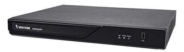 VIVOTEK ND9322P-V2 NVR, 8 PoE (max. 120W) kanály, nahrávání 4K UHD (max 64Mpbs), 2x HDD (až 16TB), H.265, RAID 0,1