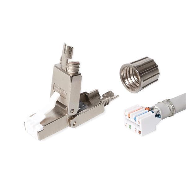 KELine konektor RJ45/s, beznástrojový, pre priamu montáž na inštalačné káble Cat.7A, Cat.7, Cat.6A