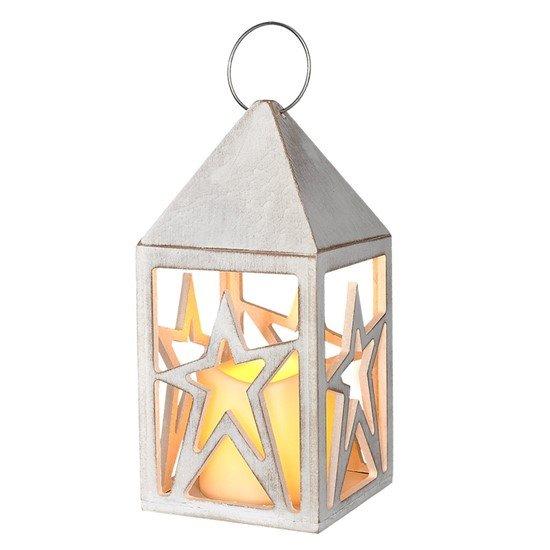 Solight drevený lampáš s LED sviečkou, 3x AAA