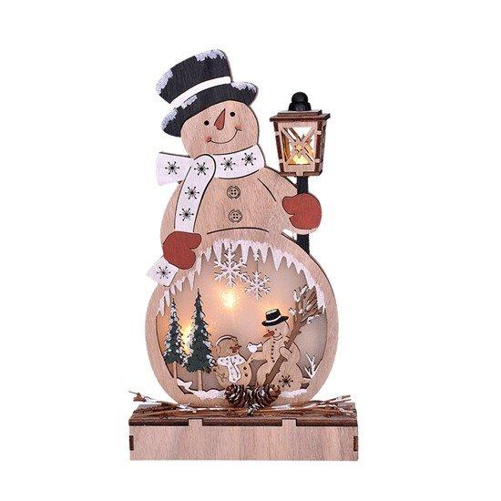 Solight drevený snehuliak, 4x LED, 2x AA
