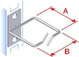 TRITON háčik 40x40 nerez, úchyt uprostred, káblový priechod vpredu