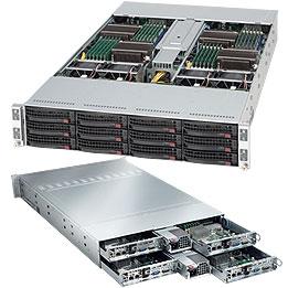 SupermicroTwin® SC827T-R1200B 2U Twin2 12 x hot swap 4x server MB
