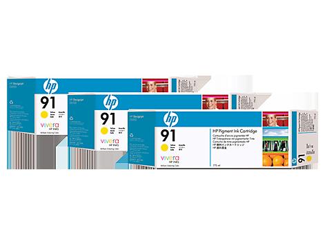 HP 91 Yellow Ink Cartridge 3-pack - 3 ink cartridges 775 ml each