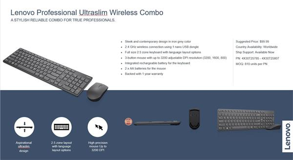 Lenovo Professional Ultraslim Wireless Combo Keyboard and Mouse US EU verzia.
