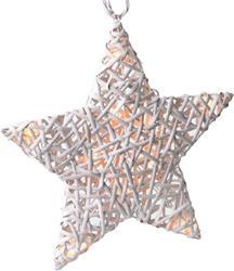 Solight LED Ratanová hviezda, 10x LED, automatické/ručné zapnutie, 2x AA batérie, biela