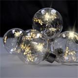 Solight LED sada vianočných gulí s hviezdami, veľ. 6cm, 6ks, 30LED, časovač, tester, 3xAA, USB