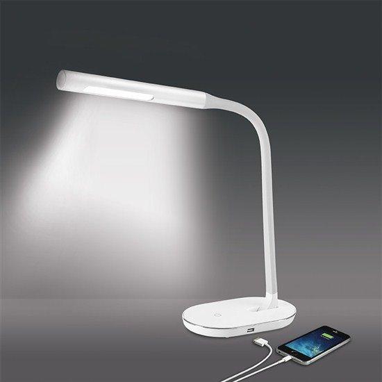 Solight LED stolná lampička stmievateľná, 8W, 4500K, USB, biela
