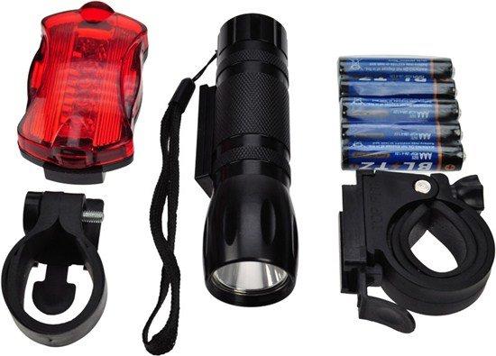 Solight sada cyklo svetiel, predné 3W LED + zadné 5x LED, 2x držiak, 5x AAA batérie