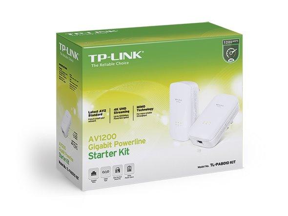 TP-LINK TL-PA8010KIT AV1200 Powerline Starter Kit, Qualcomm, 1 Gigabit Port, 1200Mbps Powerline , 2*2 MIMO