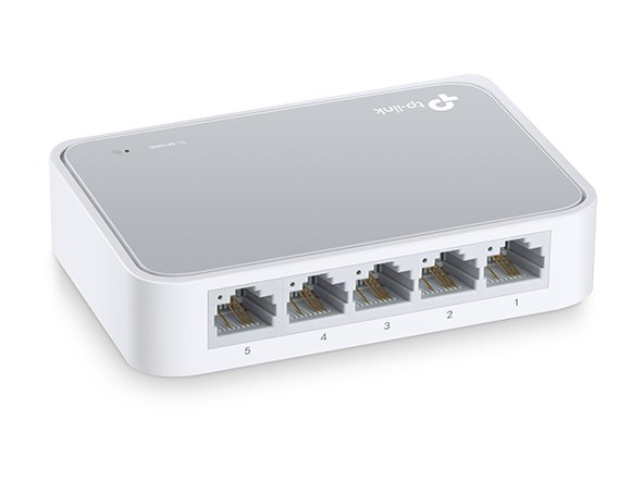TP-LINK TL-SF1005D 5-Port 10/100M mini Desktop Switch, 5 10/100M RJ45 Ports, Desktop Plastic Case