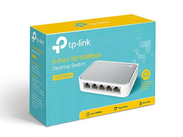 TP-LINK TL-SF1005D 5-Port 10/100M mini Desktop Switch, 5 10/100M RJ45 Ports, Desktop Plastic Case