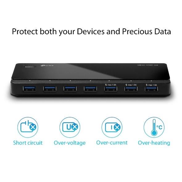 TP-LINK UH700 USB 3.0 7-Port Hub,Modern design that keeps everything simple and elegant
