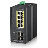 ZyXEL RGS200-12P, 12-port Gigabit WebManaged switch: 8x GbE + 4x SFP, PoE (802.3at, 30W), Power budget 240W, DIN rail/Wa